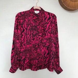 Vintage Isabella Abstract Tiger Print Silk Blouse